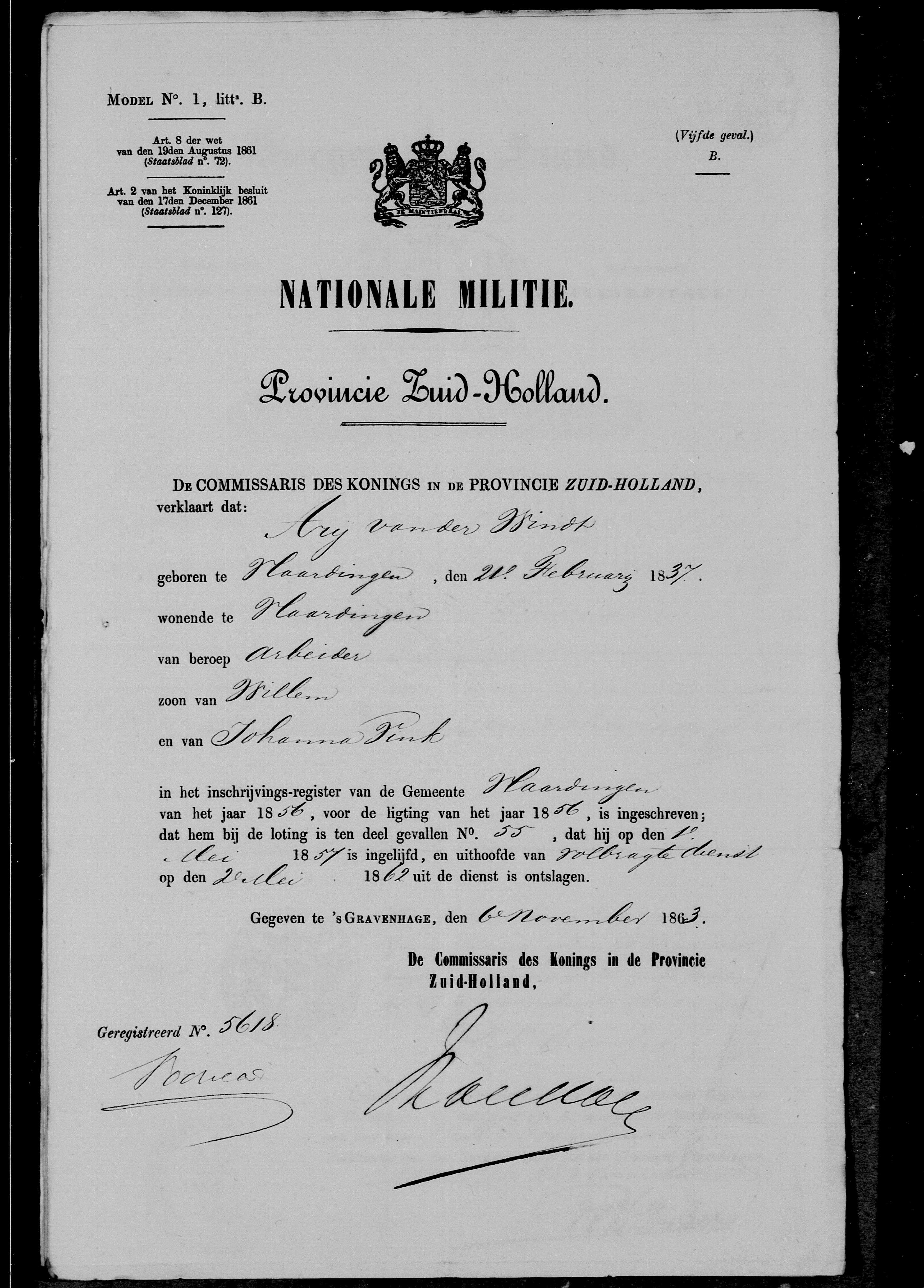 1837-02-21 Nationale Militie Arij van der Windt