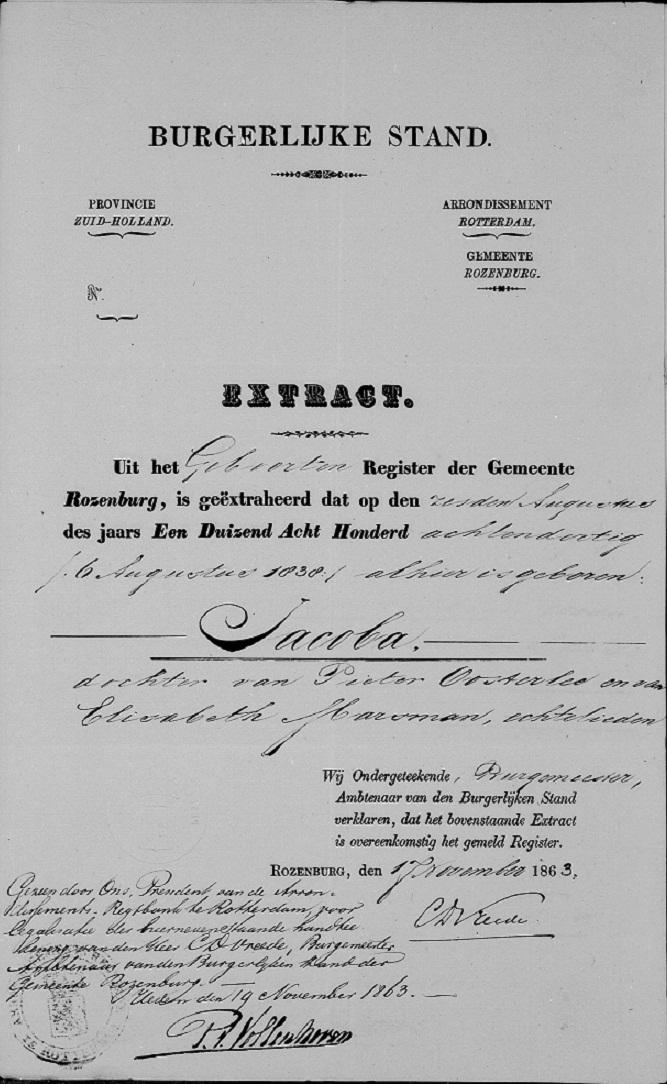 1838-08-06 Geboorteakte Jacoba Oosterlee
