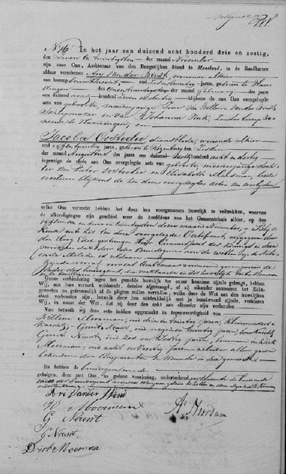 1863-11-27 Trouwakte van Arij en Jacoba Oosterlee