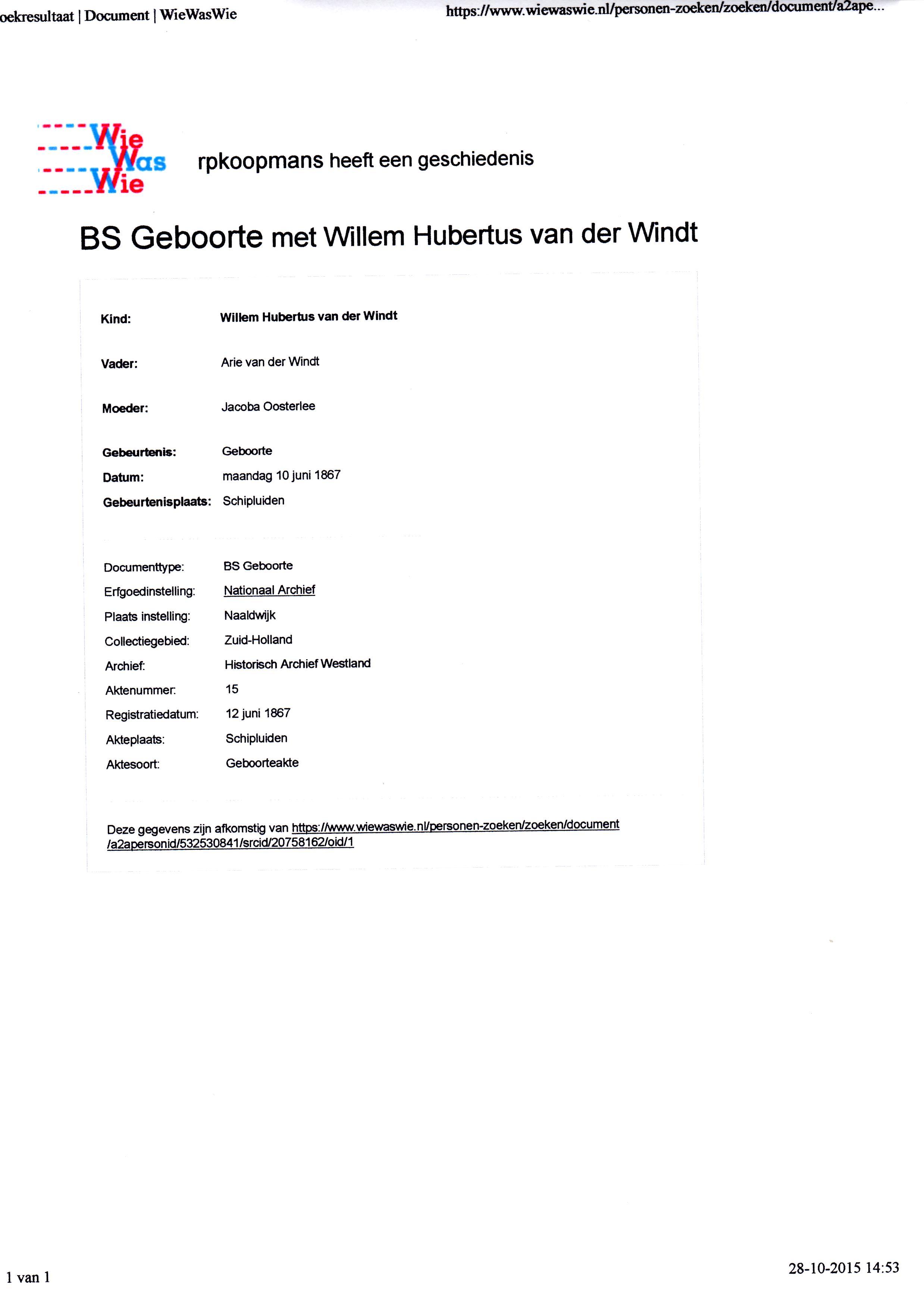 1867-06-10 Geboorte Willem Hubertus van der Windt