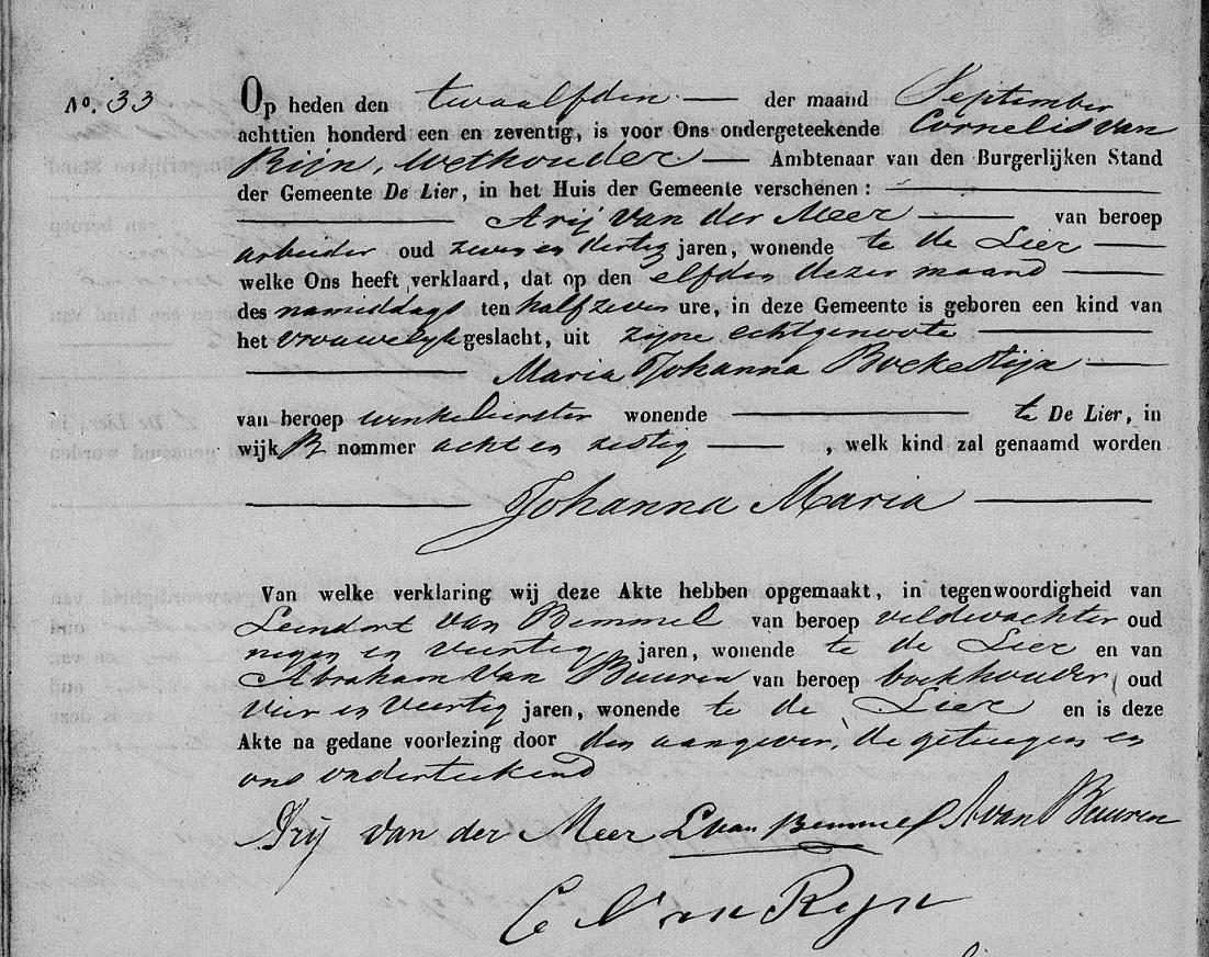1871-09-11 Geboorteakte Johanna Maria van der Meer