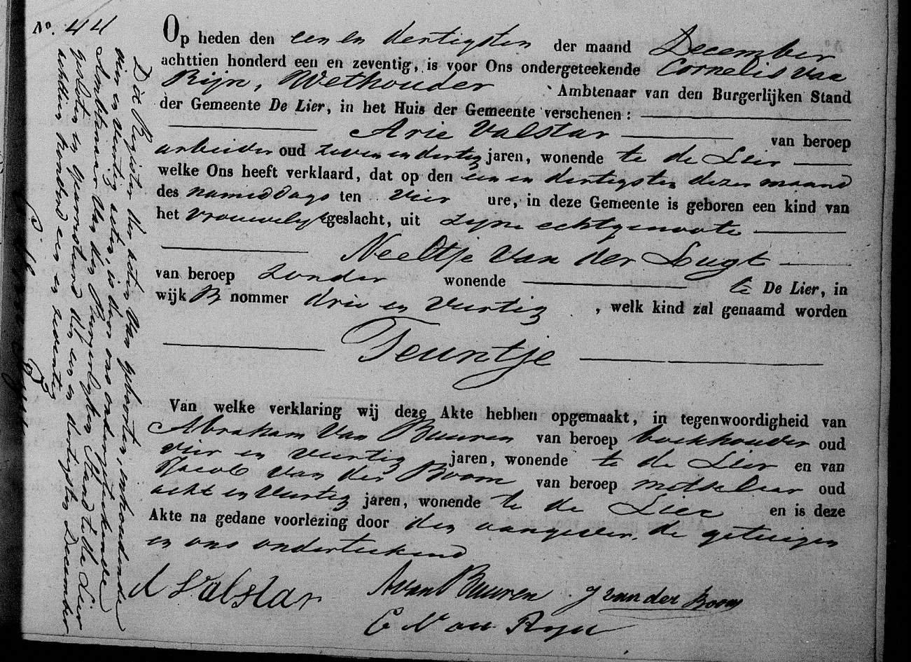 1871-12-31 Geboorte akte Teuntje Valstar