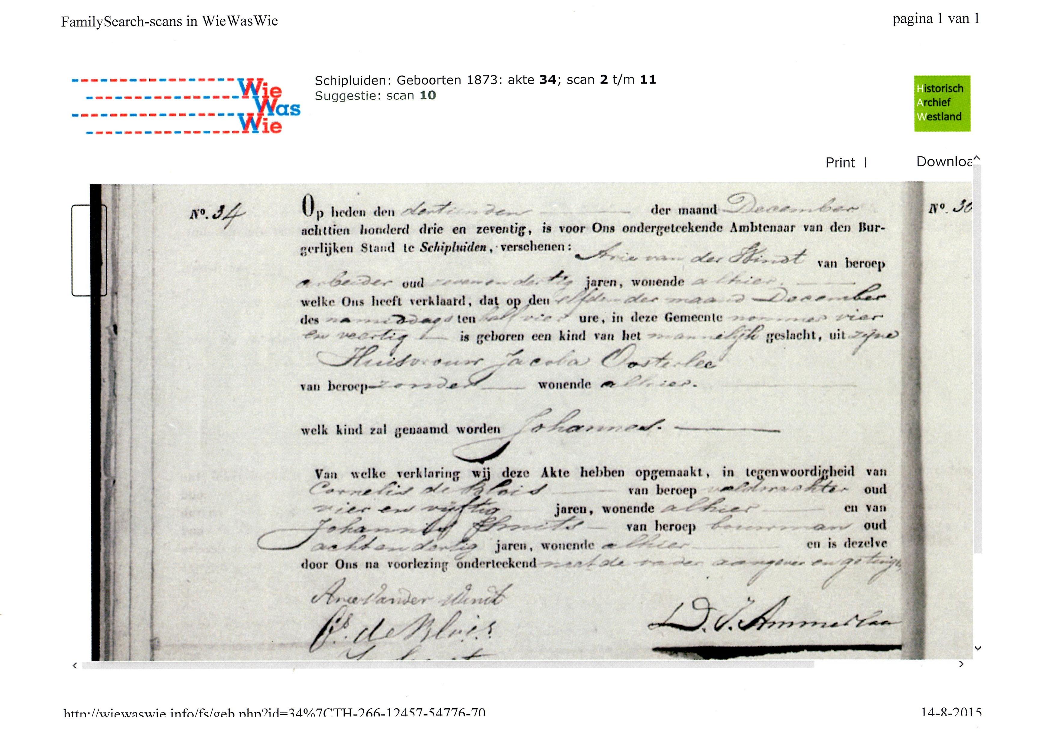 1873-12-11 Geboorte akte Johannes