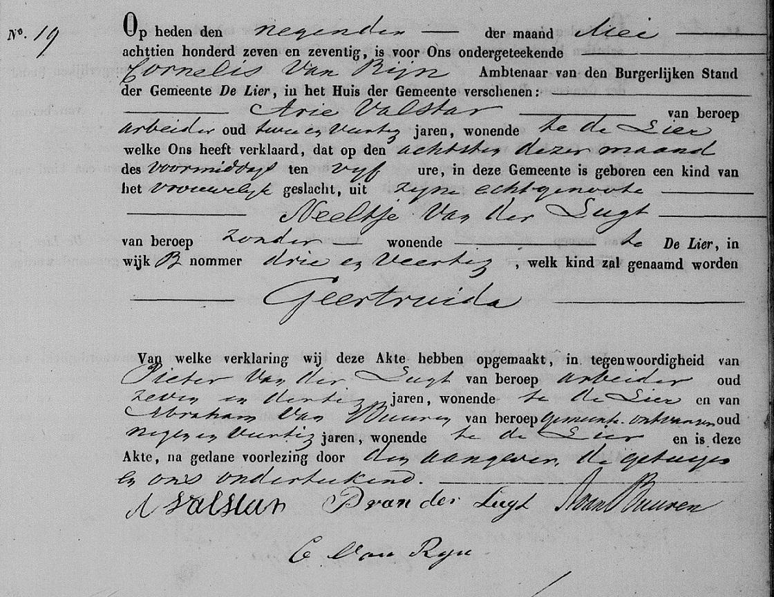 1877-05-08 Geboorte akte Geertruida Valstar