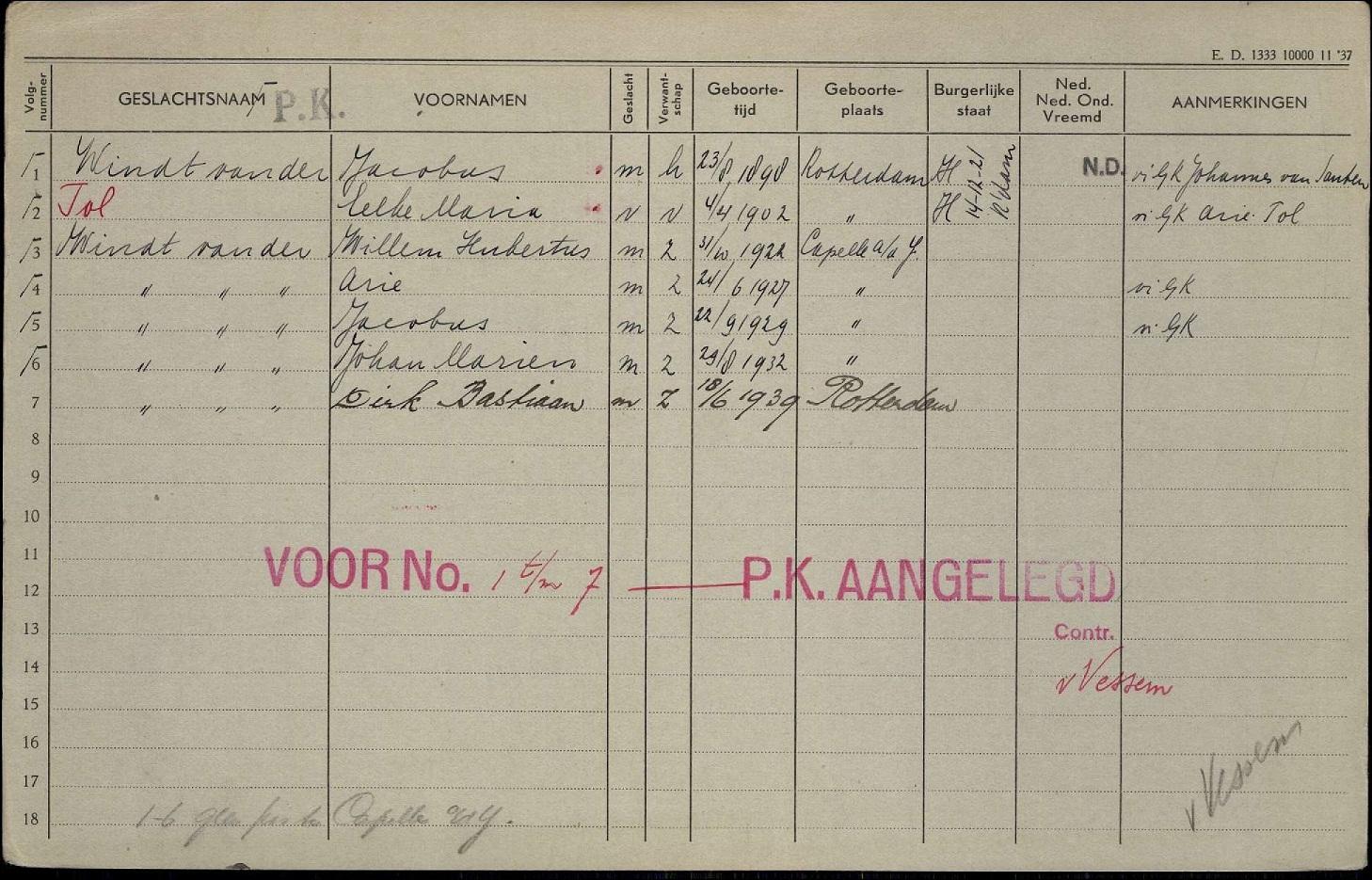 1898-08-23 A Voorkant Persoonskaart Jacobus en Eelke Maria Tol