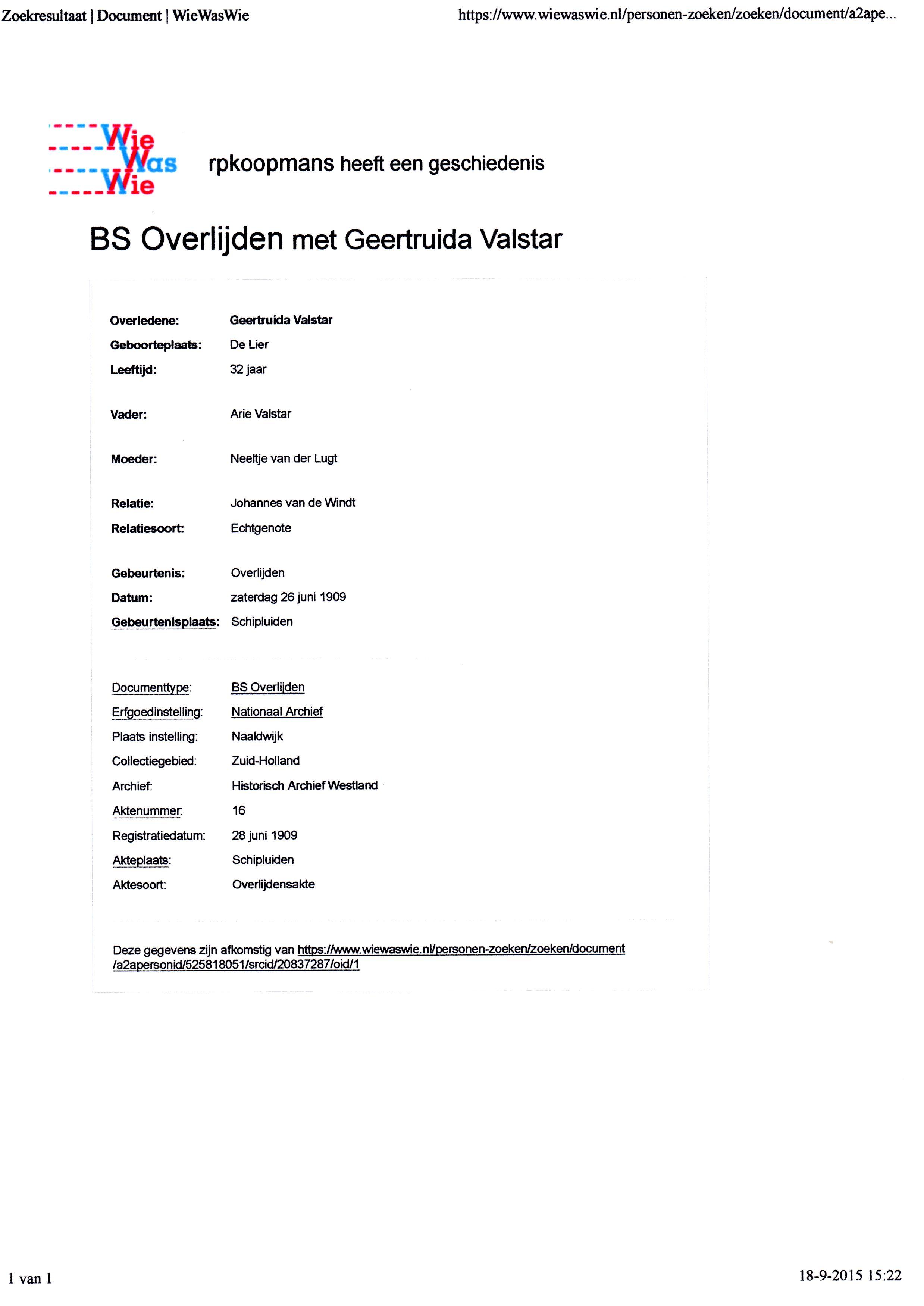 1909-06-26 Overlijden Geertruida Valstar