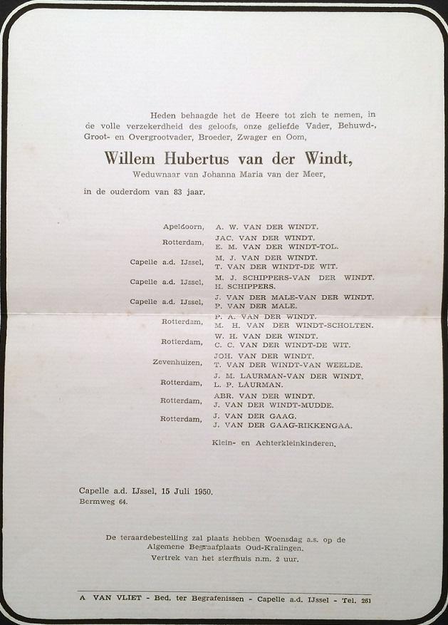 1950-07-15 Overlijden van Willem Hubertus van der Windt