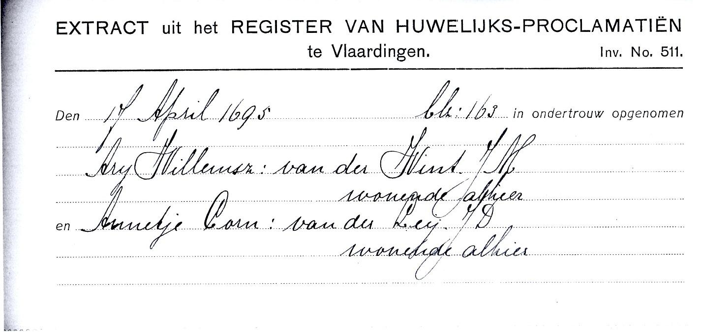 1695-04-17 Ondertrouw Arij Willemsz van der Wint en Annetje Cornelisd van der Leij