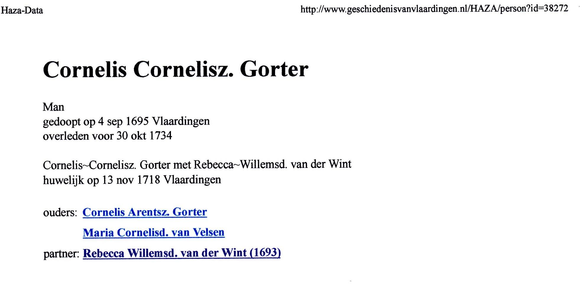 1695-09-04 Cornelis Cornelisz Gorter