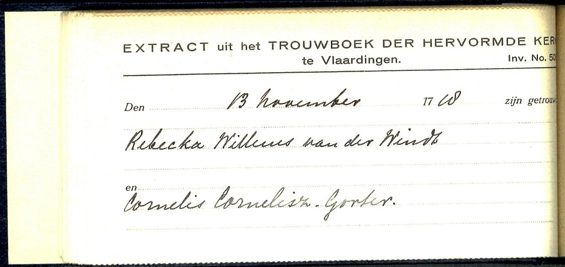 1718-11-13 Extract Trouwboek Rebecca Willemsd van der Wint trouwt Cornelis Cornelisz Gorter (2)