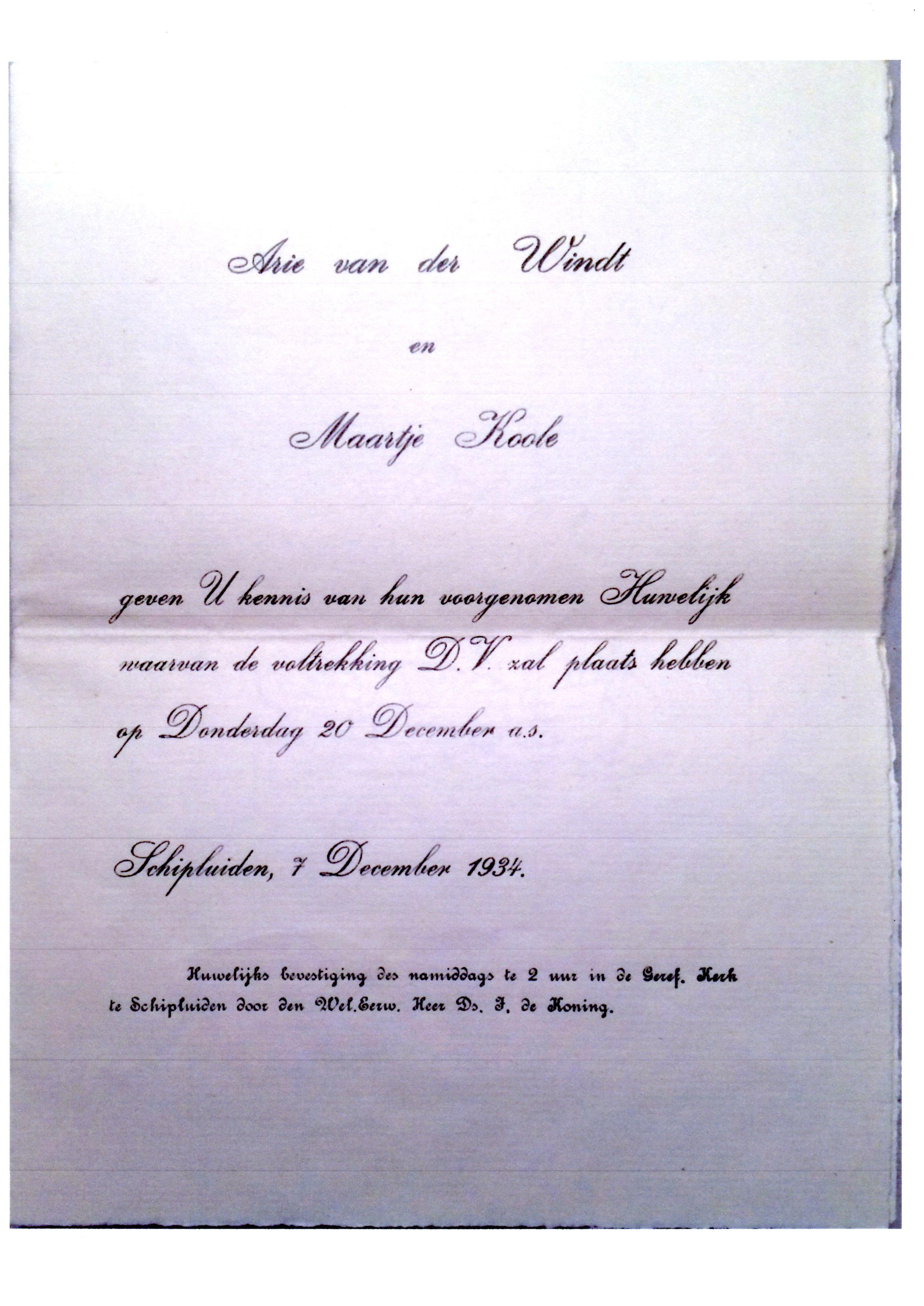 1934-12-07 Aankondiging huwelijk Arie van der Windt en Maartje Koole