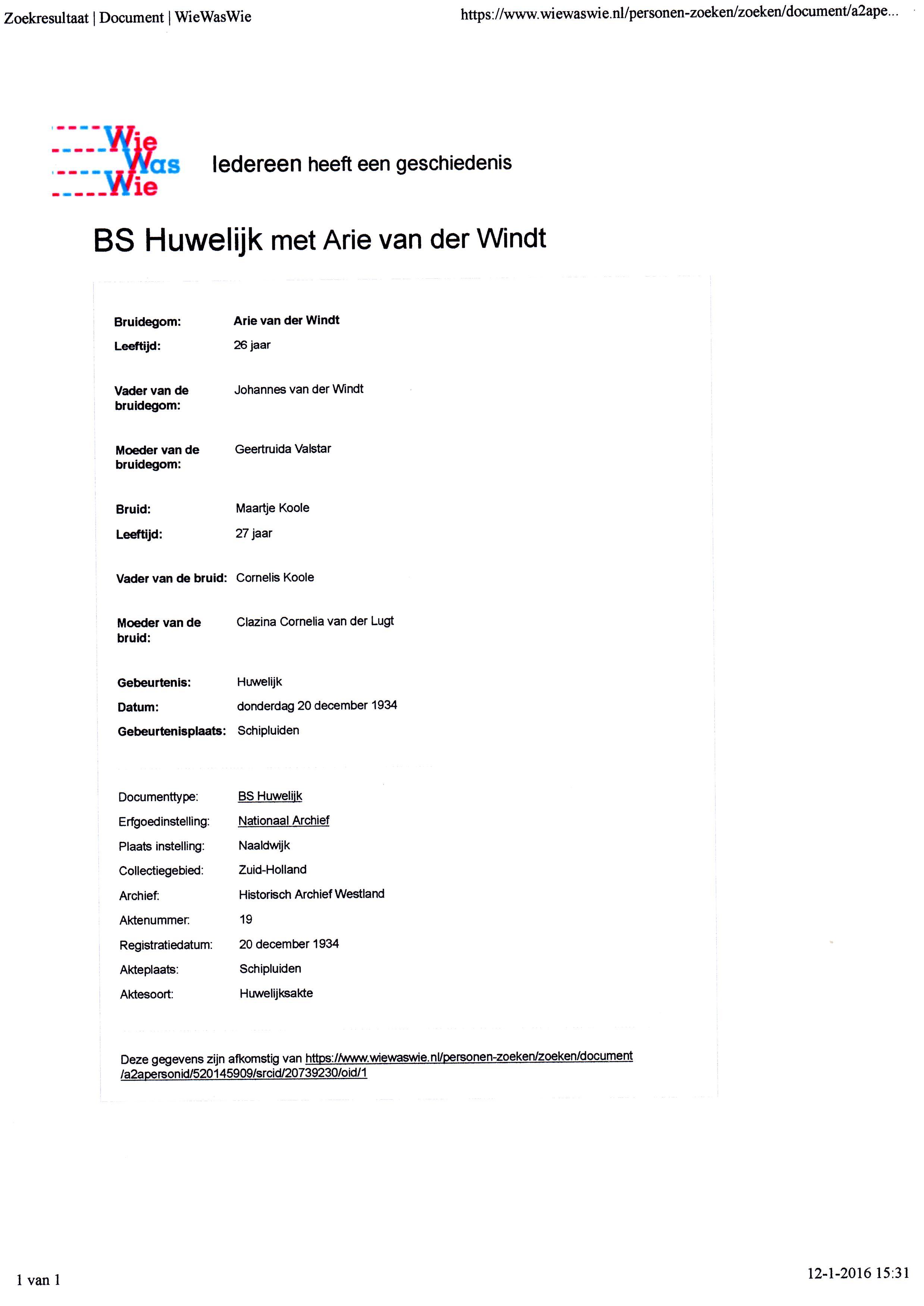 1934-12-20 Huwelijk tussen Arie van der Windt en Maartje Koole