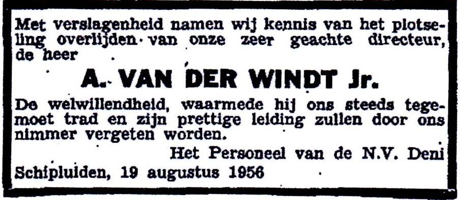 1956-08-19 Overlijdensadvertentie Arie van der Windt (2-3)