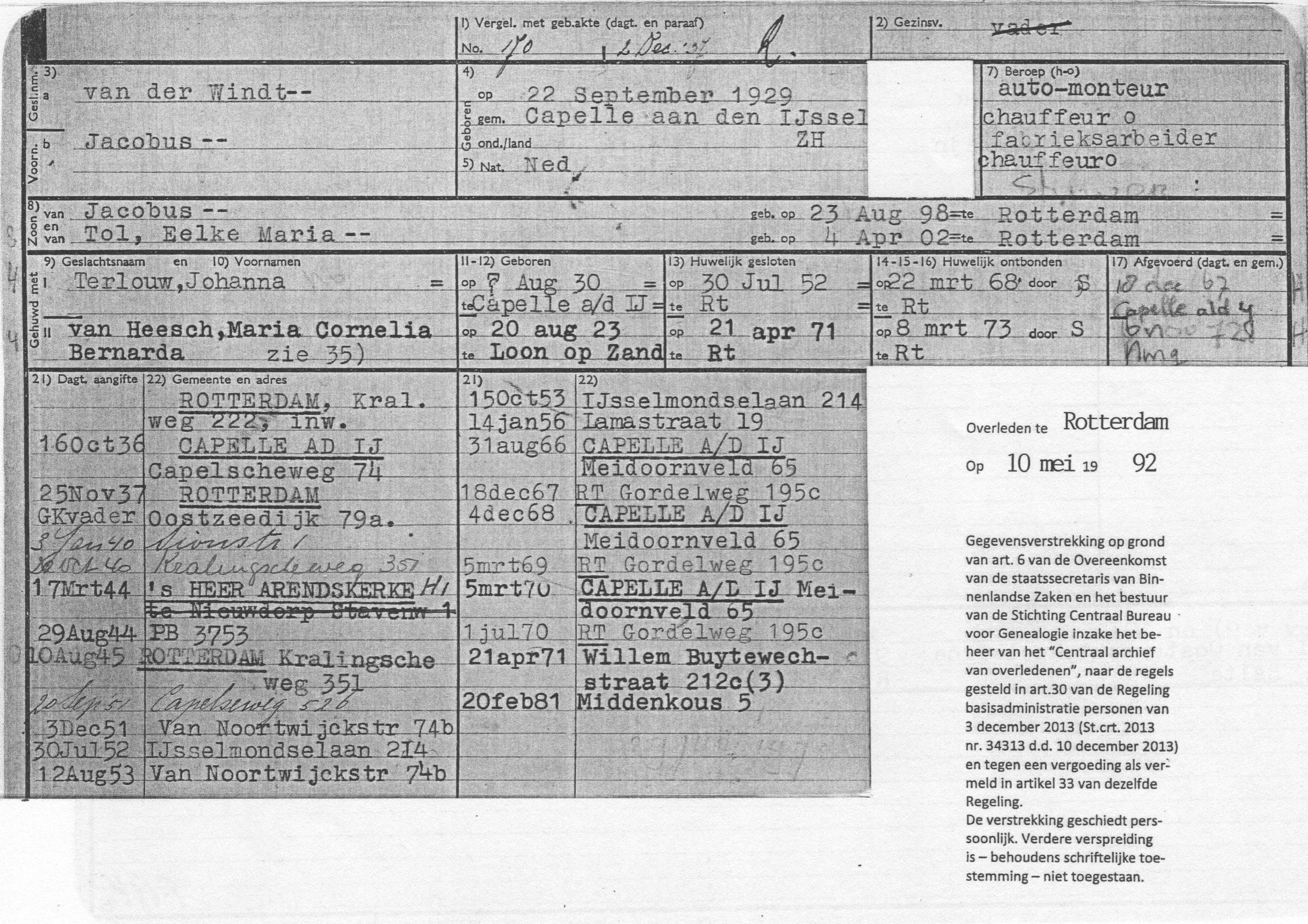 22-09-1929 Jacobus van der Windt (Voorkant persoonsbewijs)