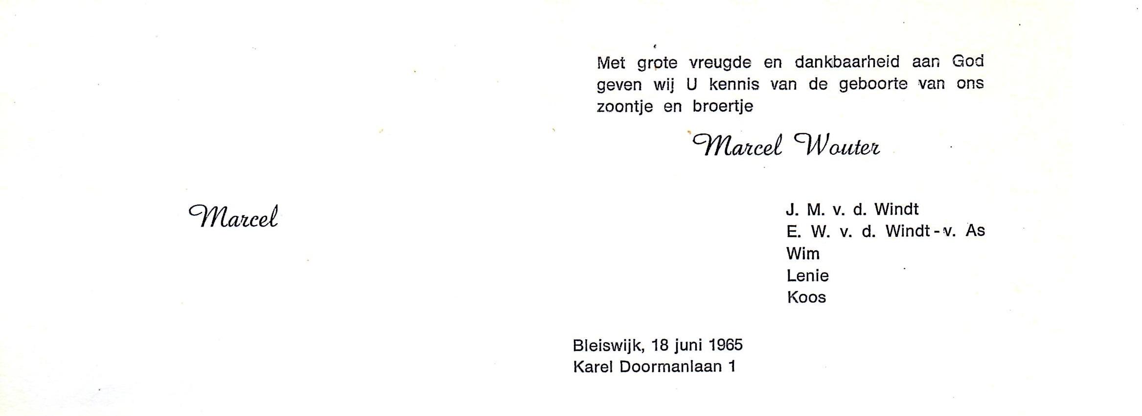 1965-06-18 Geboortekaart Marcel Wouter van der Windt