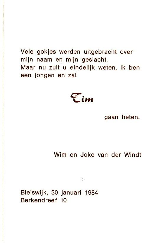 1984-01-30 Geboortekaartje Tim van der Windt