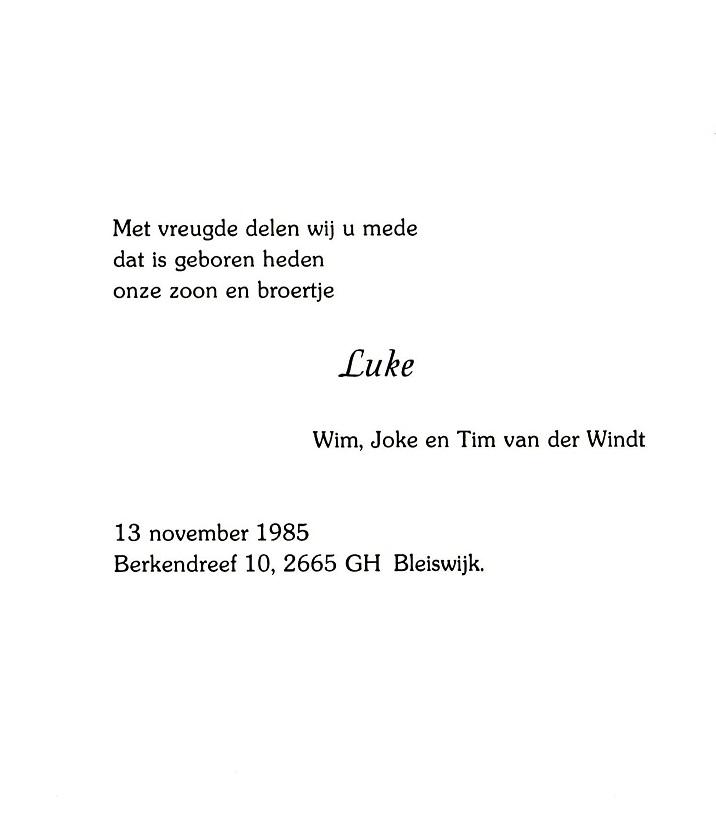 1985-11-13 Geboortekaartje Luke van der Windt