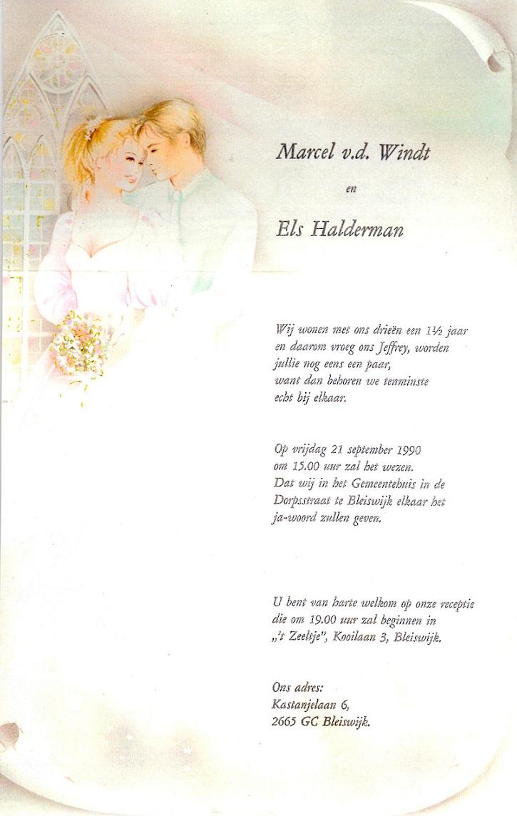 1990-09-21 Trouwkaart Marcel Wouter van der Windt en Els Halderman