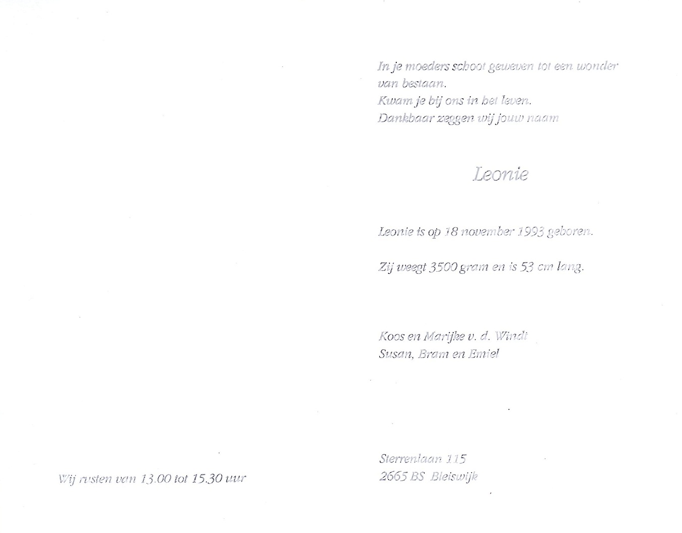1993-11-18 Geboortekaart Leonie van der Windt
