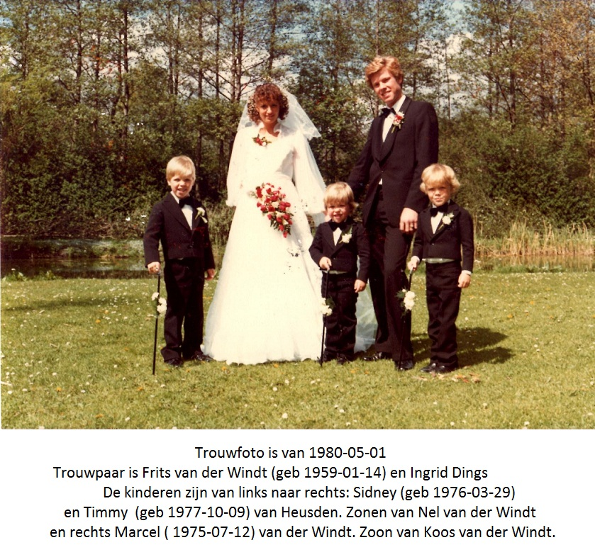Trouwfoto van Frits van der Windt en Ingrid Dings