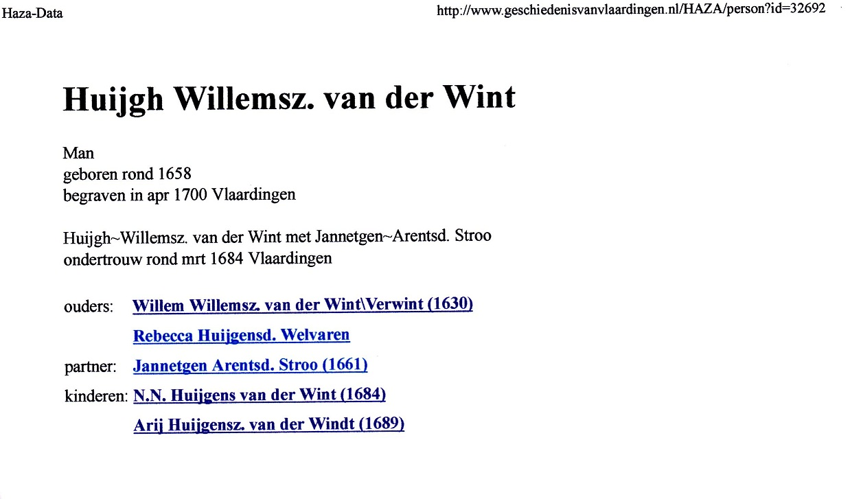 1658 Huijgh Willemsz van der Wint
