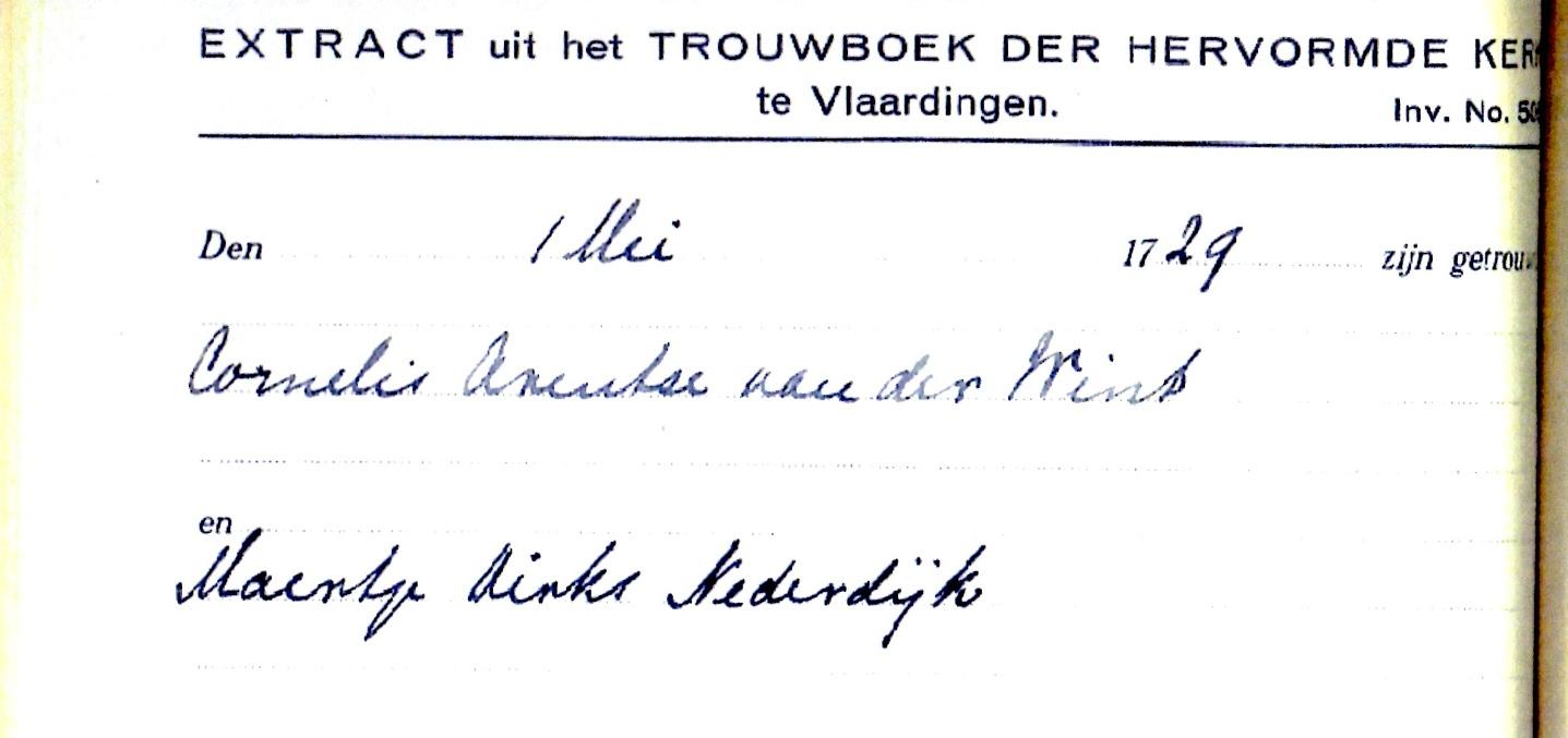 1729-05-01 Extract Trouwboek van Cornelis Arentsz van der Wint en Maertje Dirksd Nederdijk