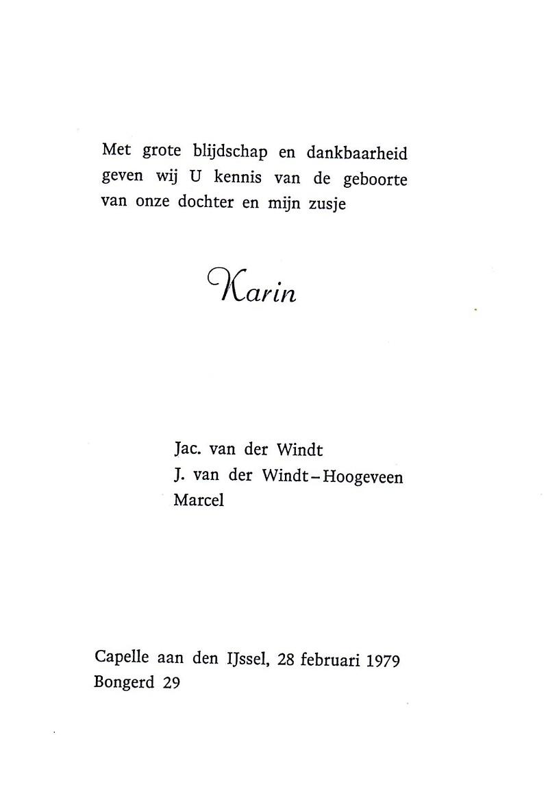 1979-02-28 Geboortekaart Karin van der Windt