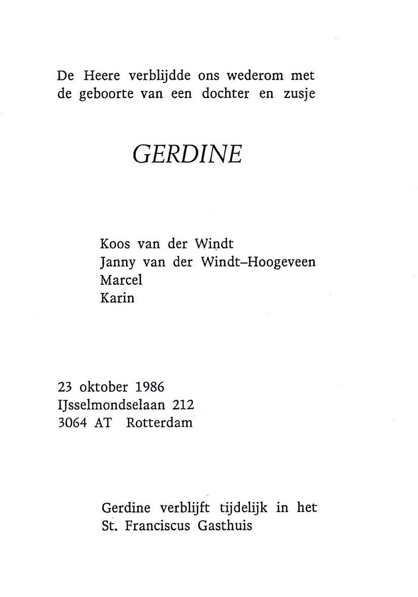 1986-10-23 Geboortekaart Gerdine van der Windt