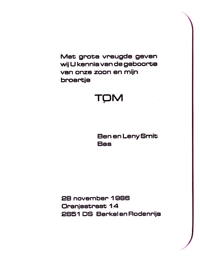1986-11-28 Geboortekaart Tom van der Windt