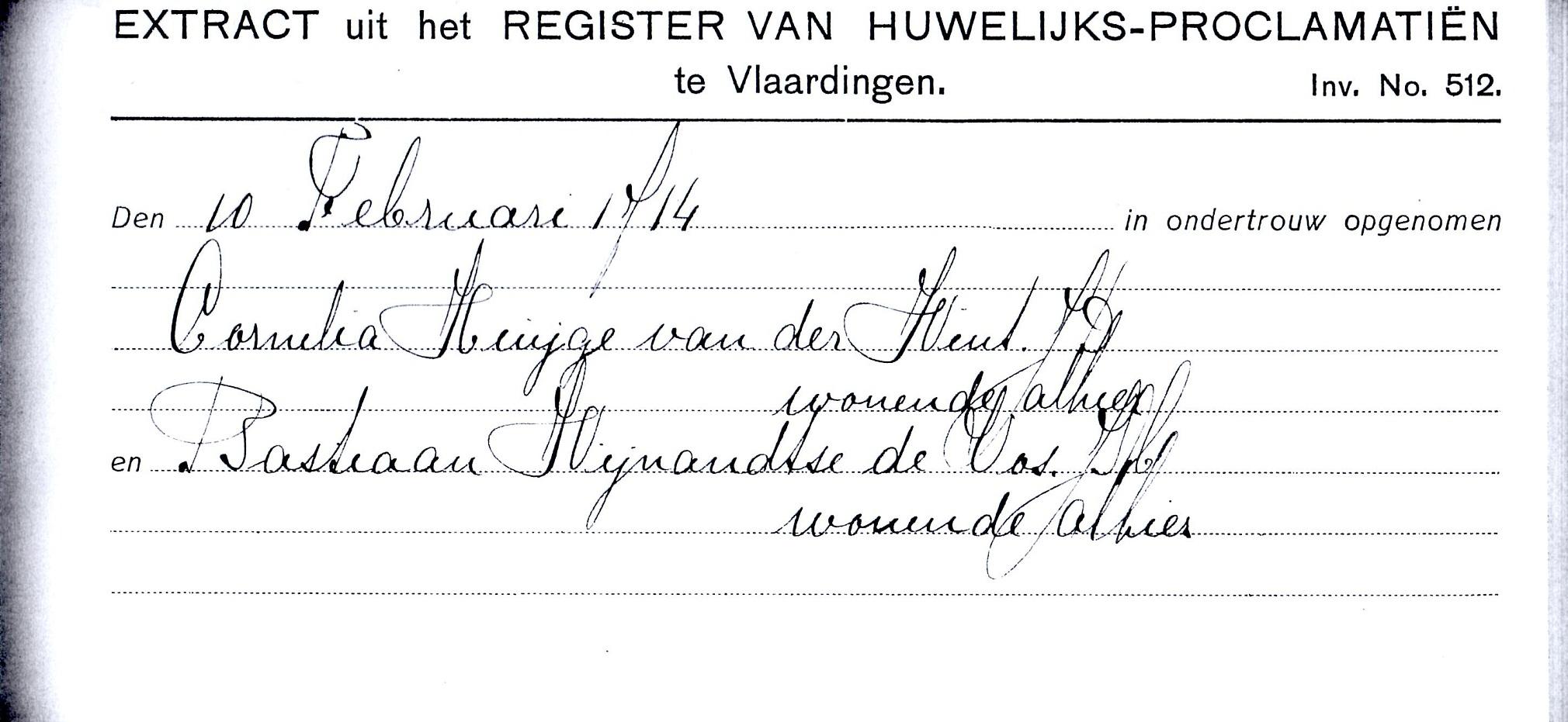 1714-02-10 Ondertrouw Cornelia Huijgensd van der Wint en Bastiaan IJmensz de Vos