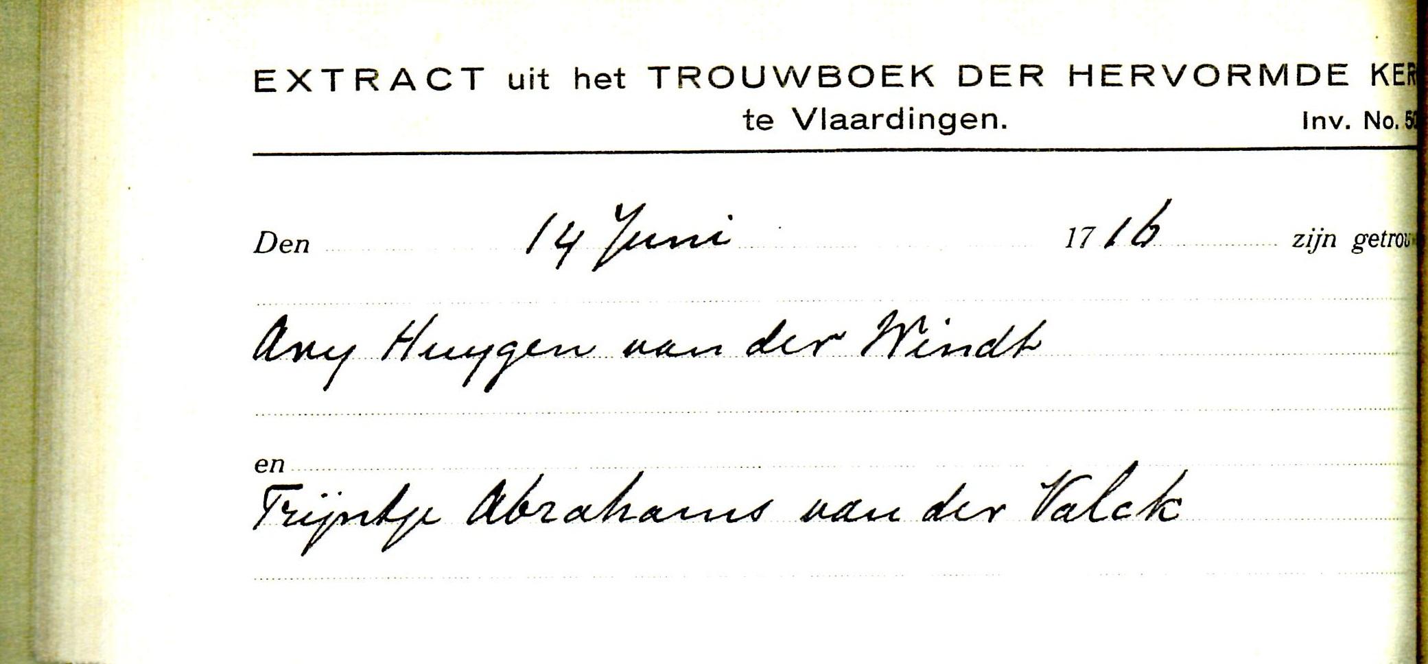 1716-06-14 Extract Trouwboek Arij Huijgensz van der Windt en Trijntje Abrahamsd van der Valck