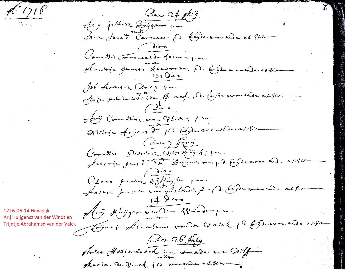 1716-06-14 Trouwakte Arij Huijgensz van der Windt en Trijntje Abrahamsd van der Valck