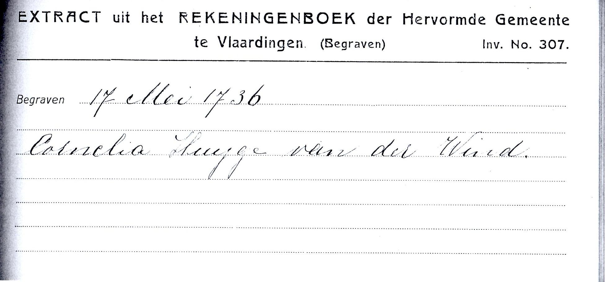 1736-05-17 Extract Rekenboek Begraven Cornelia Huijgensd van der Wint