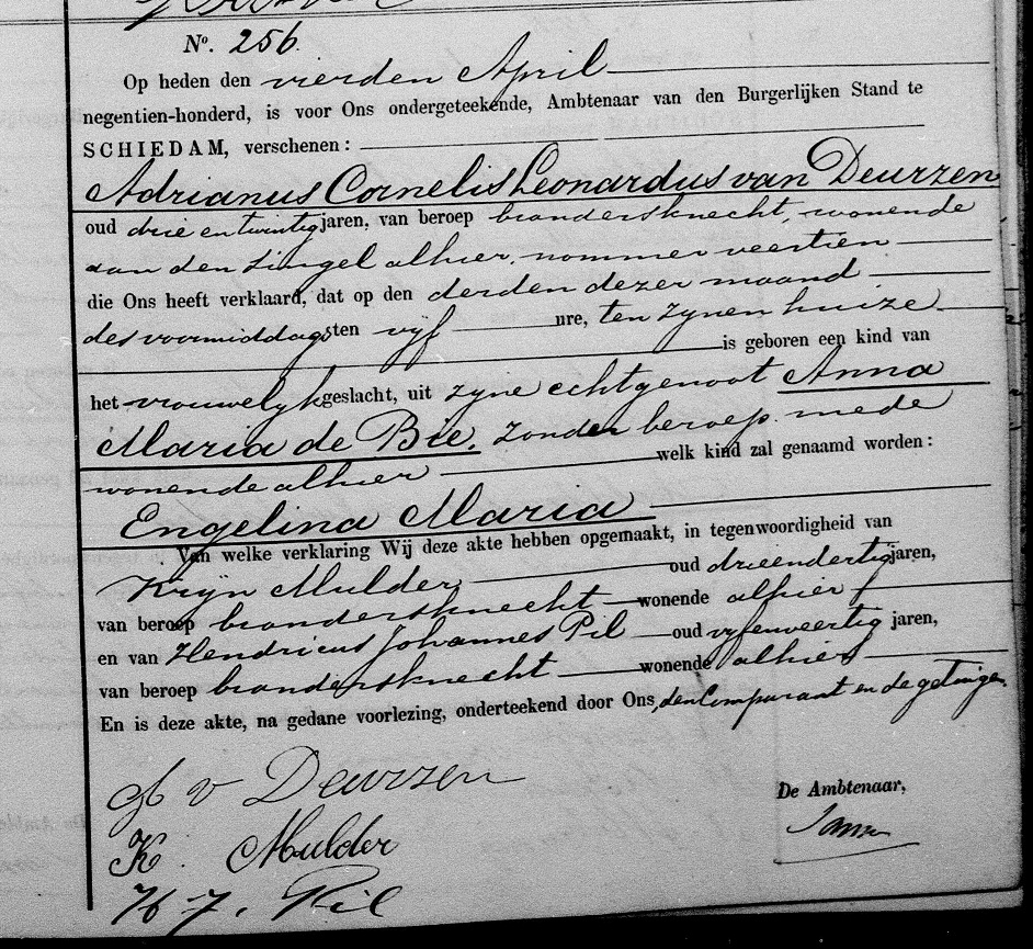 1900-04-03 Geboorteakte Engelina Maria van Deurzen