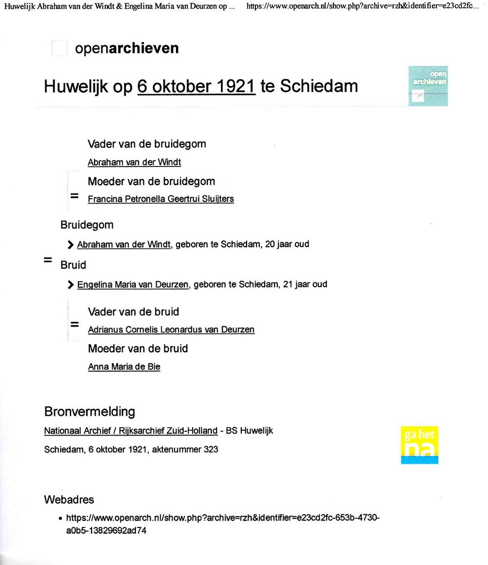 1921-10-06 Huwelijk Abraham van der Windt en Engelina Maria van Deurzen