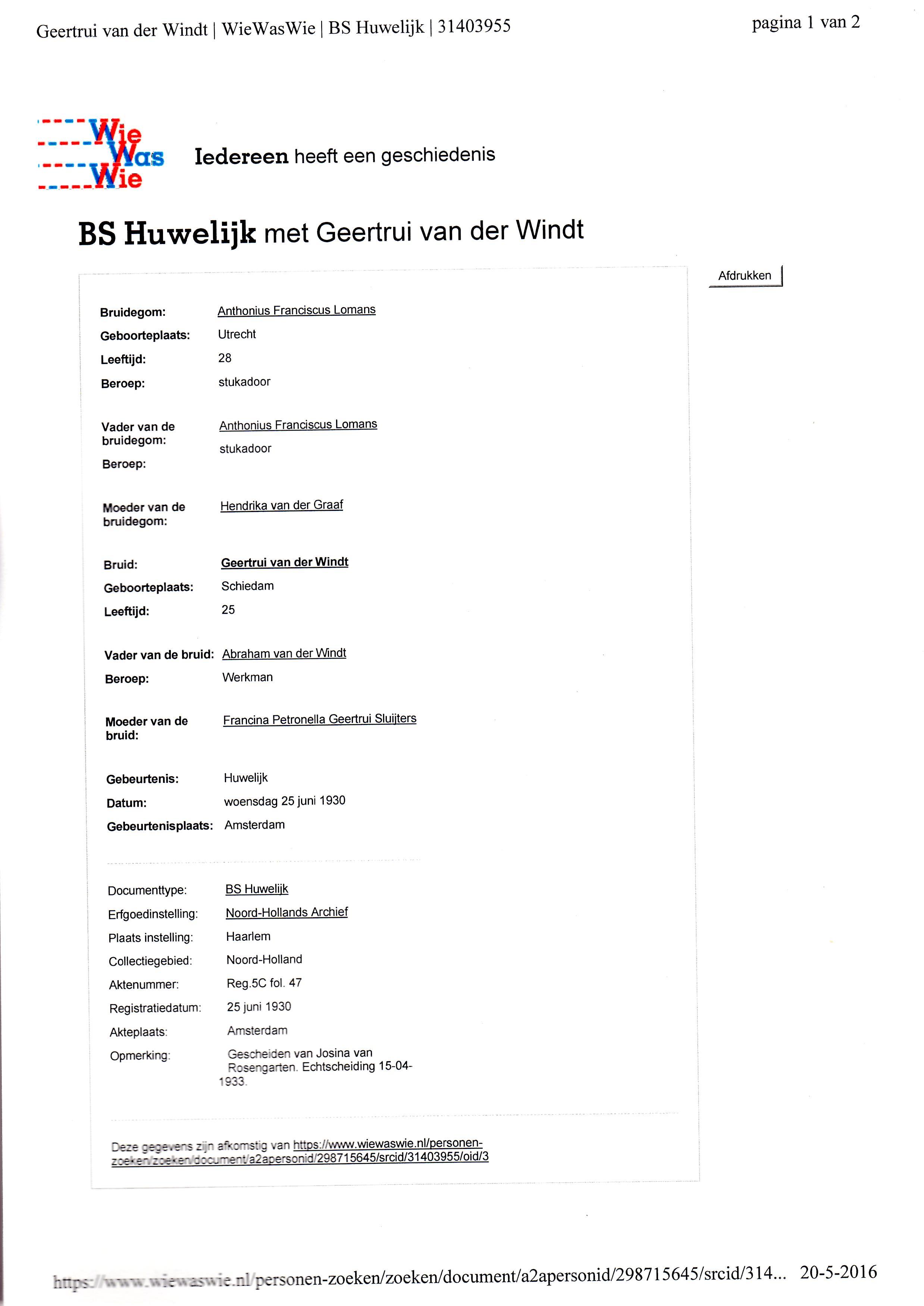 1930-06-25 Huwelijk Geertrui van der Windt en Anthonius Franciscus Lomans