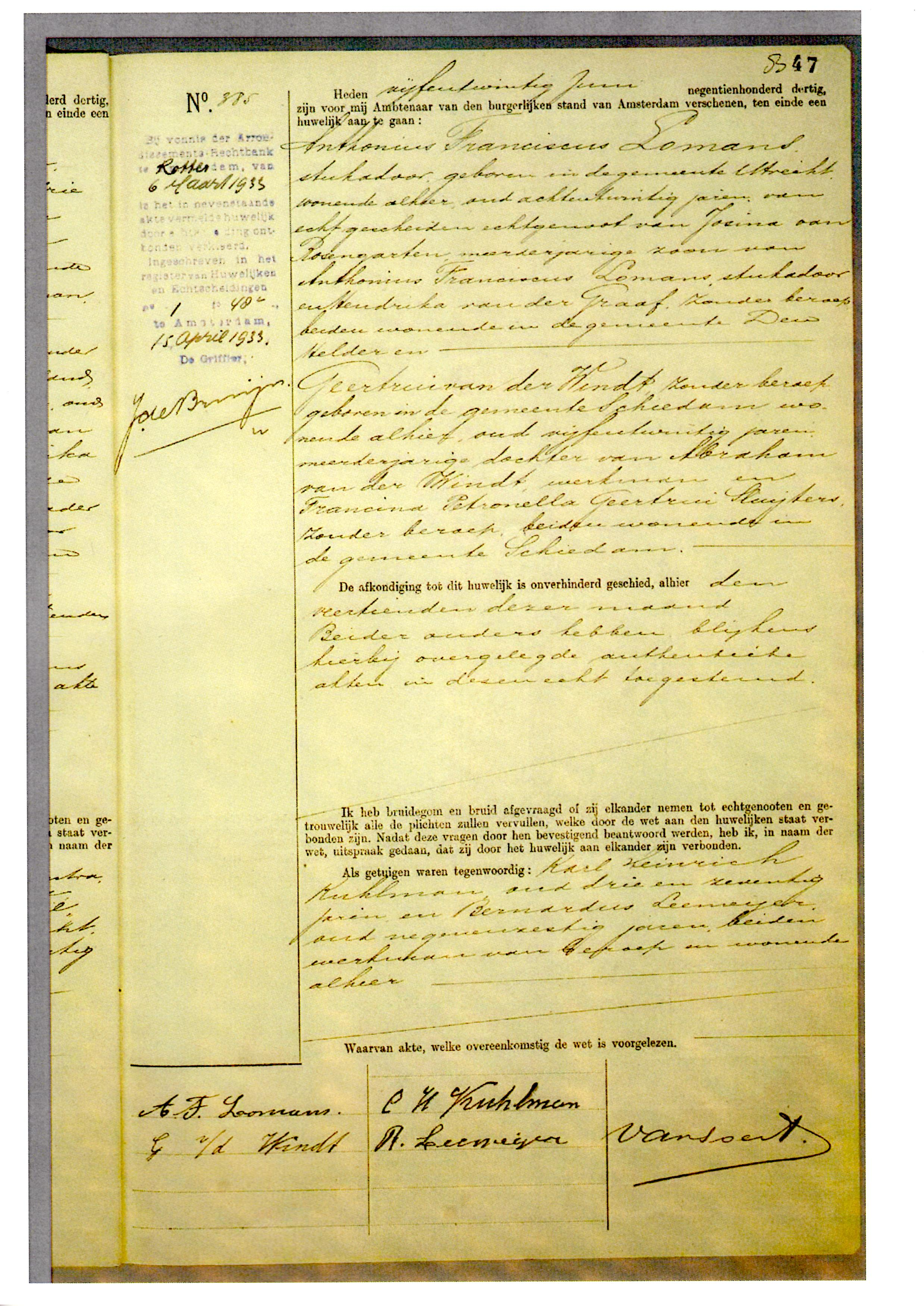 1930-06-25 Huwelijksakte Geertrui van der Windt en Anthonius Franciscus Lomans