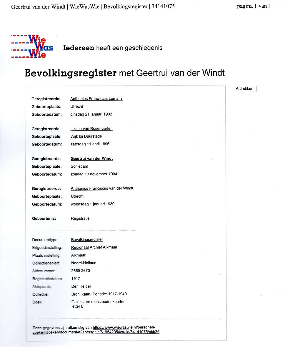 Bevolkingsregister met Geertrui van der Windt