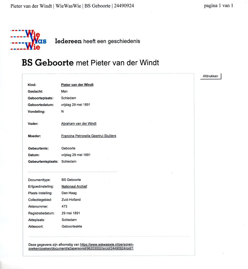 1891-05-29 Pieter van der Windt