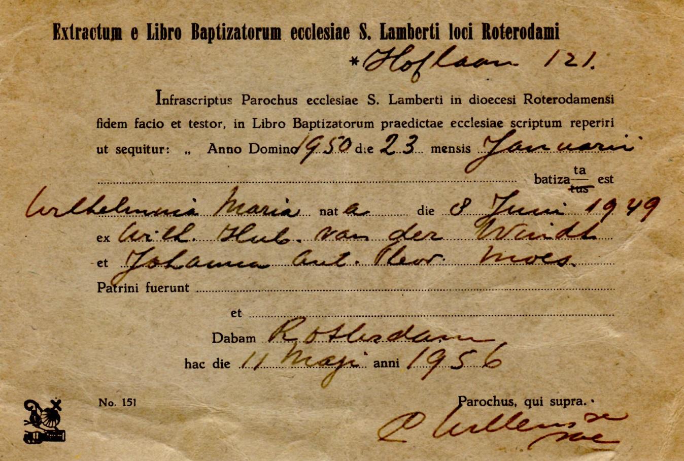 1956-05-11 Extract van de inschrijving in het register van Rotterdam