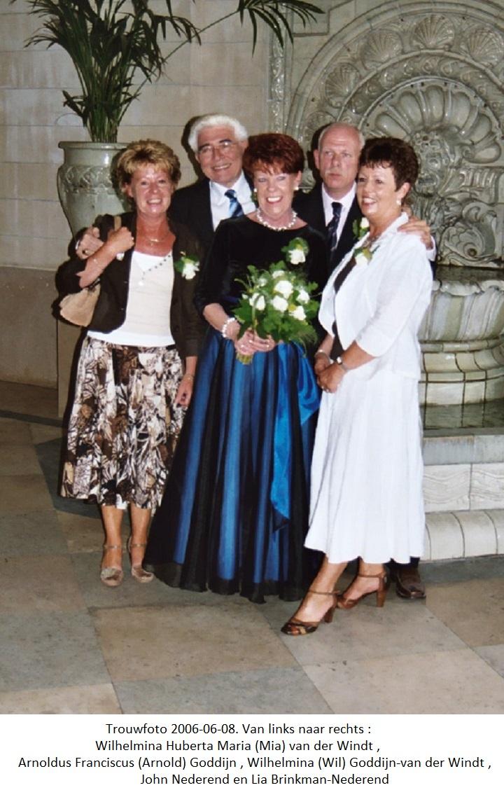 2006-06-08 Trouwfoto Wilhelmina (Wil) van der Windt en Arnoldus Franciscus (Arnold) Goddijn