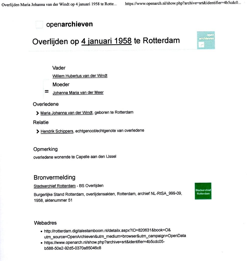 1958-01-04 Overlijden Maria Johanna van der Windt
