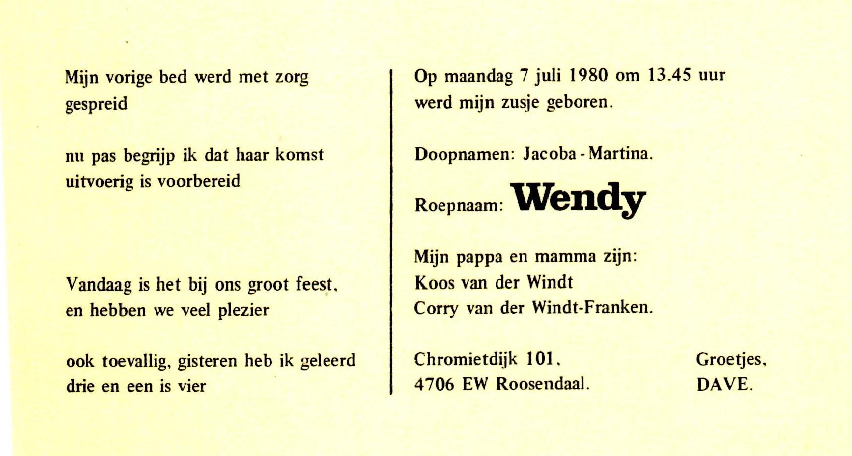 1980-07-07 Jacoba Martina (Wendy) van der Windt