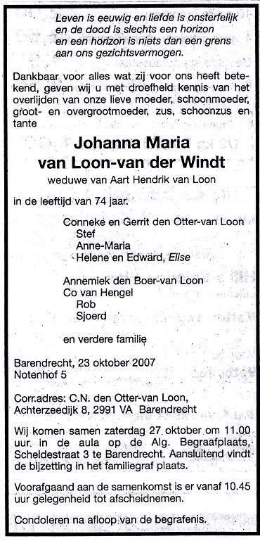 2007-10-23-overlijden-van-johanna-maria-annie-van-der-windt